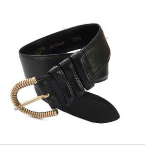 Linda Allard for Ellen Tracy black leather belt